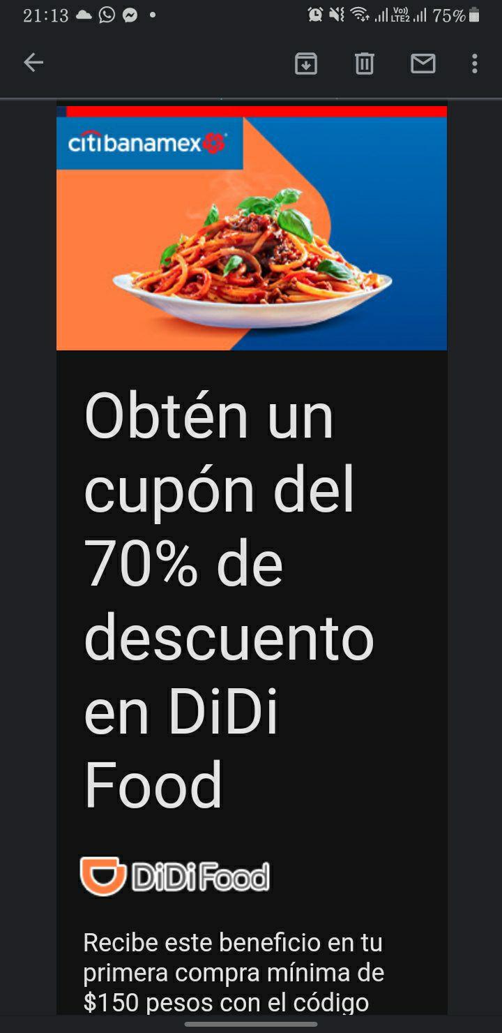 Citibanamex 70% de descuento en DiDi Food (usuarios nuevos)
