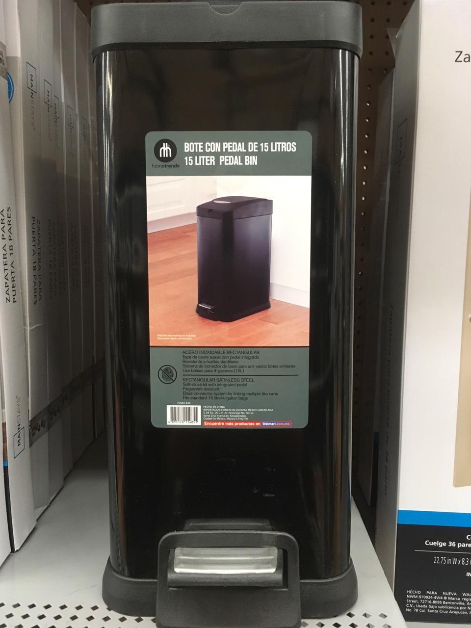 Walmart Bote de basura con pedal de 15 litros