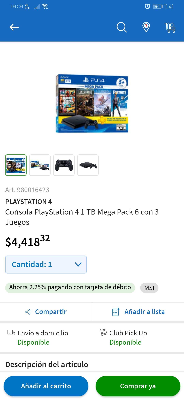 Play Station 4 + 3 juegos Sams Club
