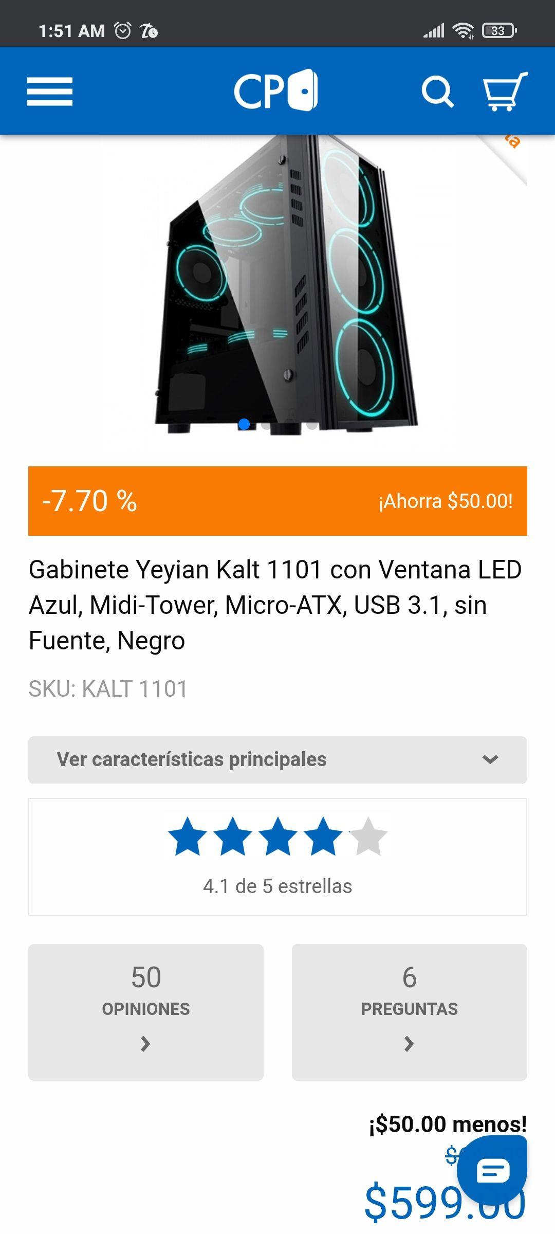 Cyberpuerta: Gabinete Yeyian Kalt 1101 con Ventana LED Azul, Midi-Tower, Micro-ATX, USB 3.1, sin Fuente