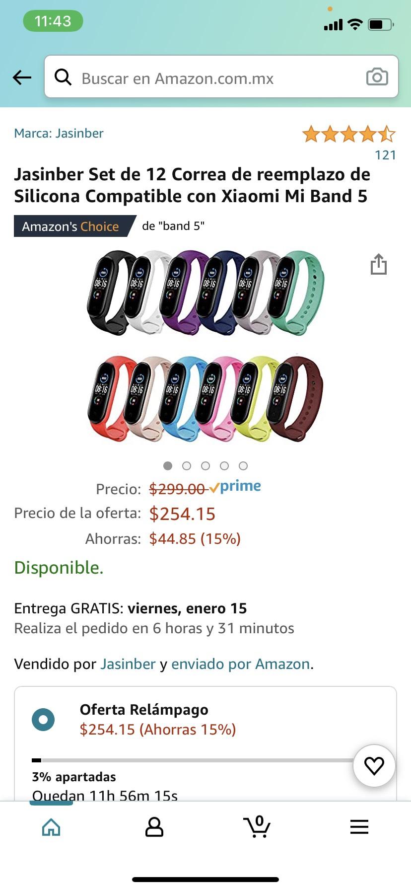 Amazon: Jasinber Set de 12 Correa de reemplazo de Silicona Compatible con Xiaomi Mi Band 5