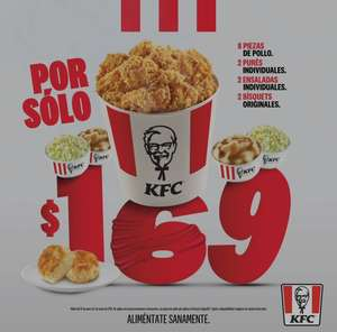 KFC: Paquete de 8 piezas + complementos (Solo crujipollo) Wow bucket