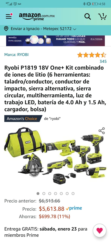 Amazon: Kit de herramientas Ryobi P1819