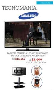 "Sears: pantalla Samsung LED 40"",mueble de pared y accesorios a $8,999"