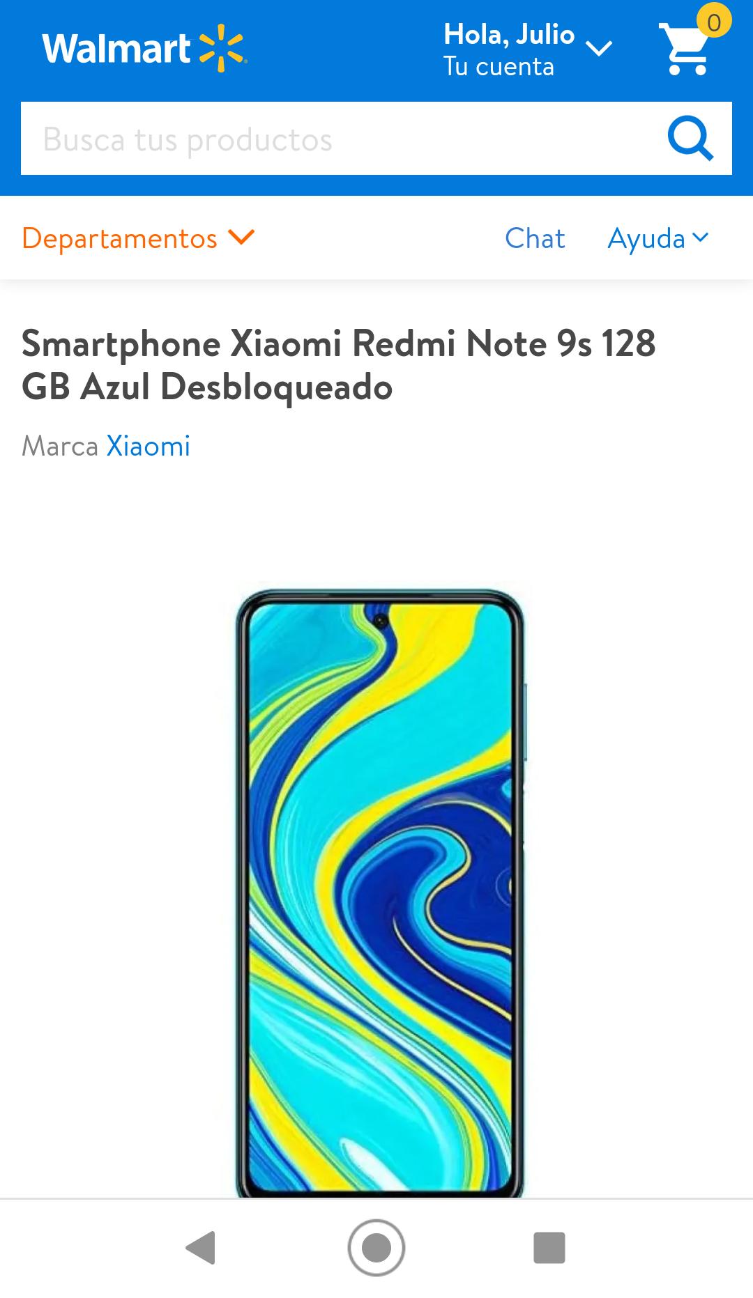 Walmart: Xiaomi redmi 9S 128gb 6gb de Ram