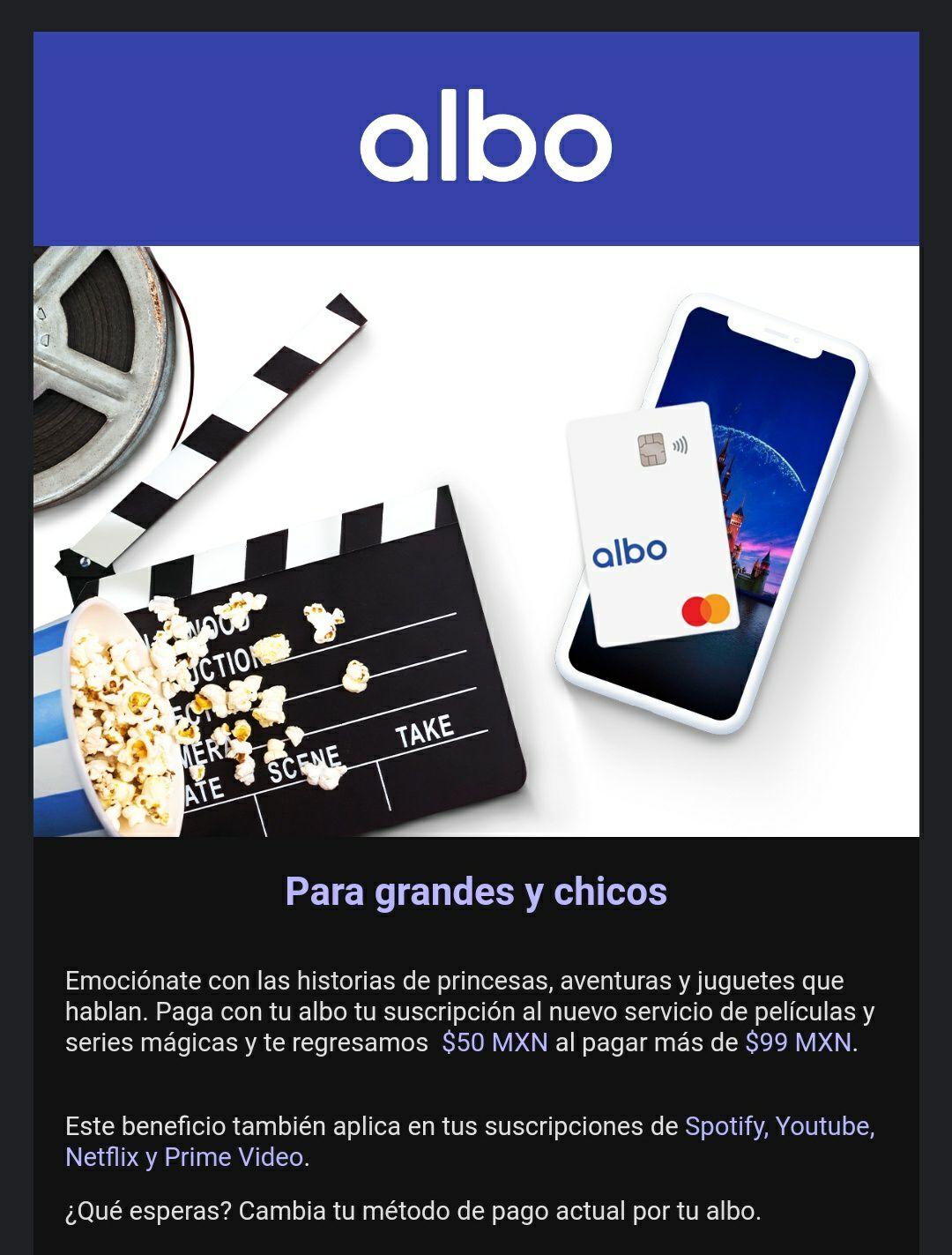 ALBO te devuelve 50 pesos al pagar más de 99 en Spotify, Prime Video, Youtube y Neflix (usuarios seleccionados)