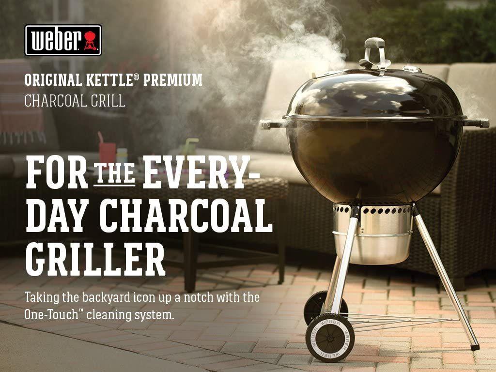 """Amazon, Asador de carbón Original Kettle Premium, 22"""" Negro"""
