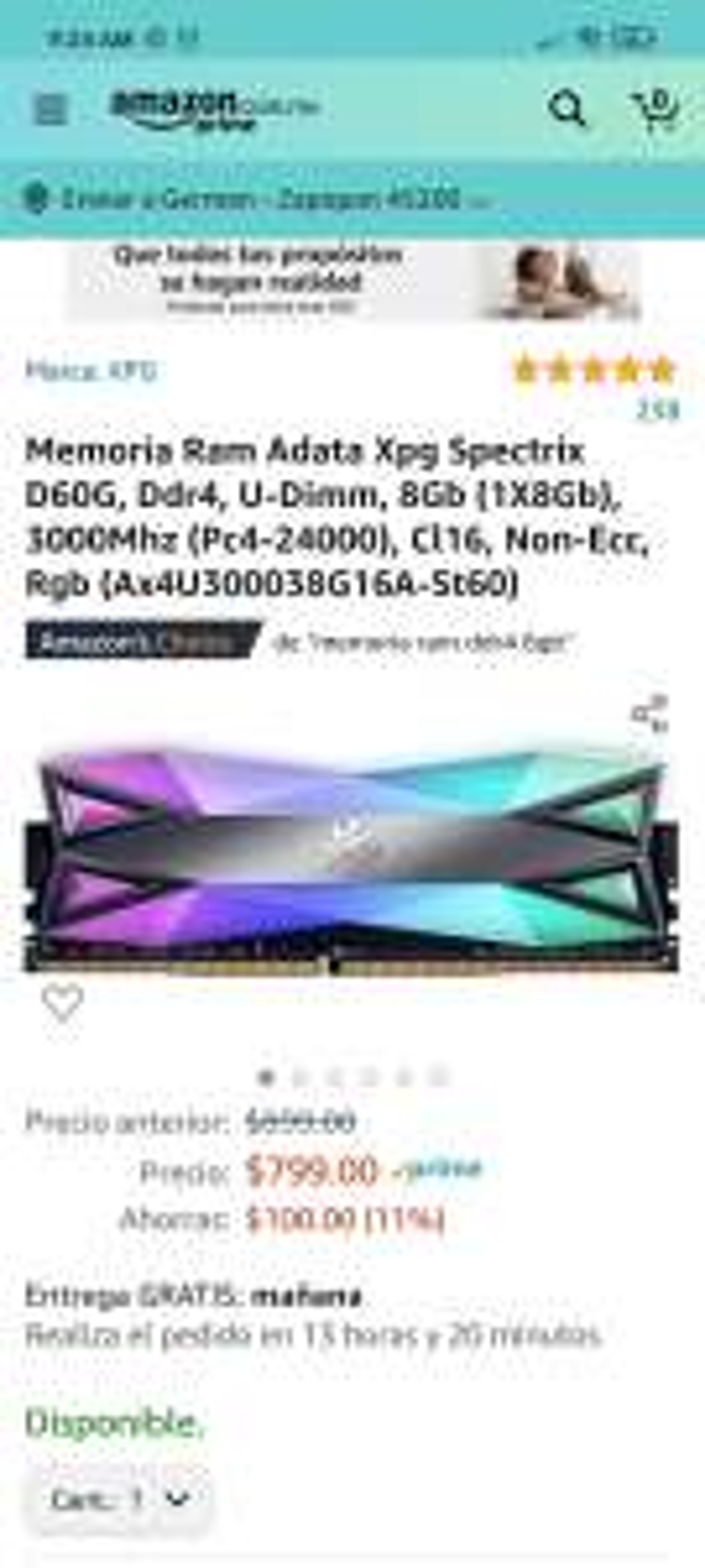Amazon: Memoria RAM 8GB RGB 3000MHz