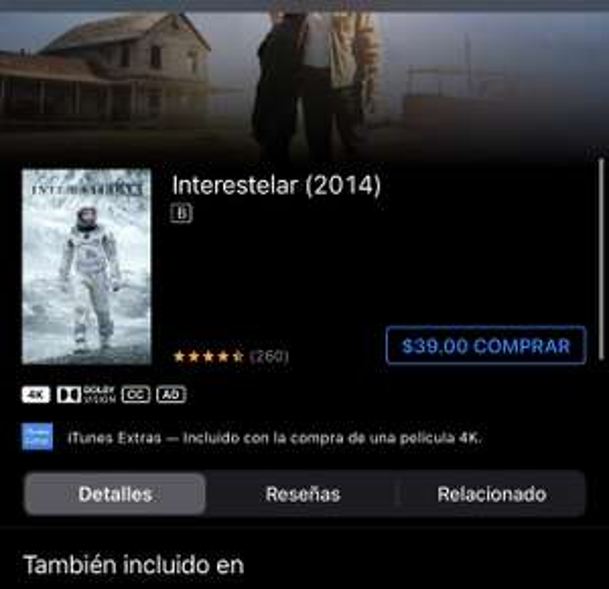 iTunes: Interestelar 4k