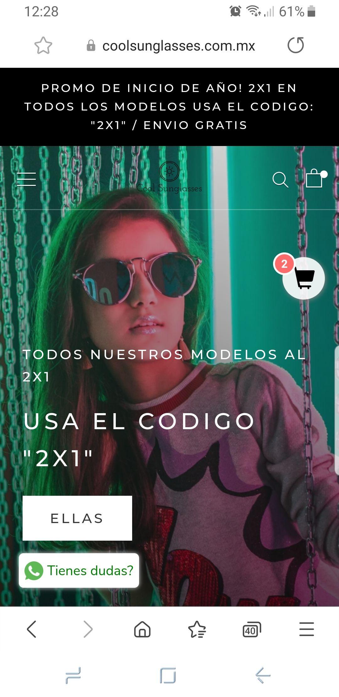 Cool sunglasses lentes $250 por 2 modelos