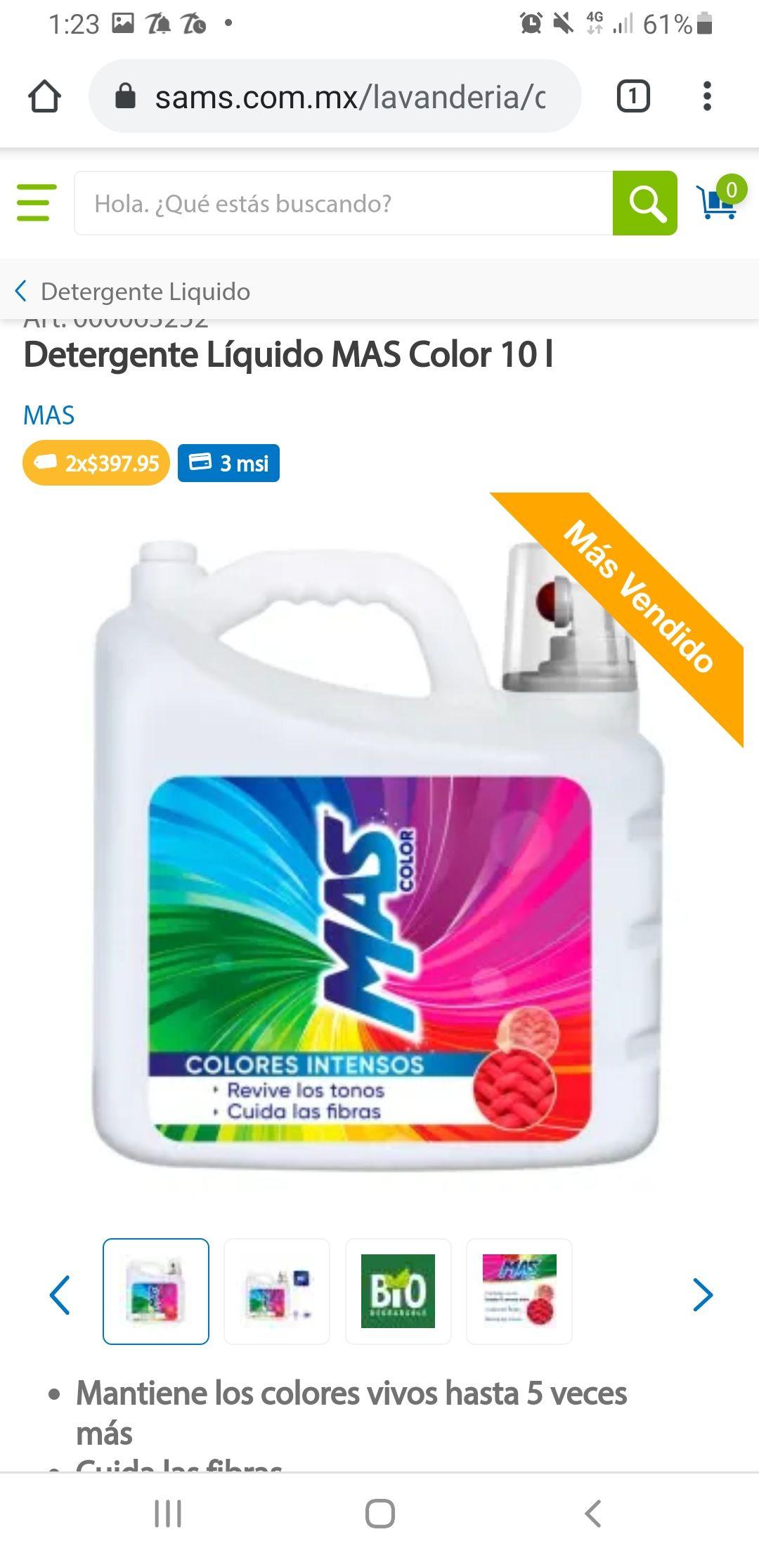 Sam's Club: Detergente más color 20 litros (2 de 10lt c/u)