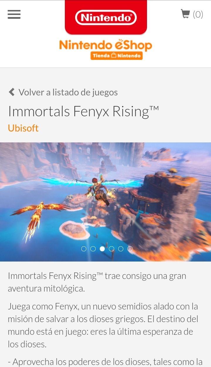 Nintendo eshop (Argentina) immortals fenyx rising