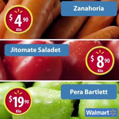 Walmart: Martes de Frescura 09 Agosto: Zanahoria $4.90, Jitomate $8.90, Pera $19.90 kg.