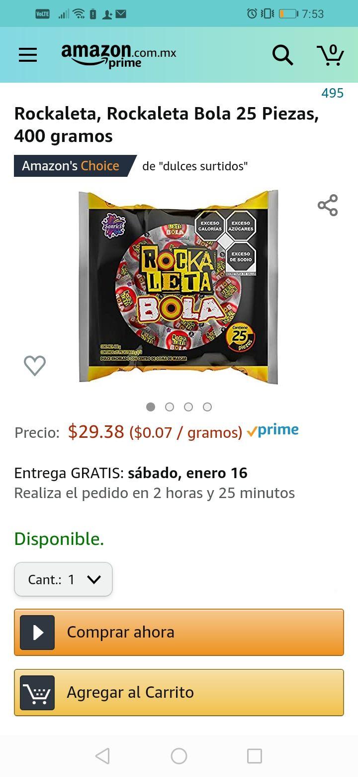 Amazon rockaleta en bolitas 400 grs envio gratis con prime