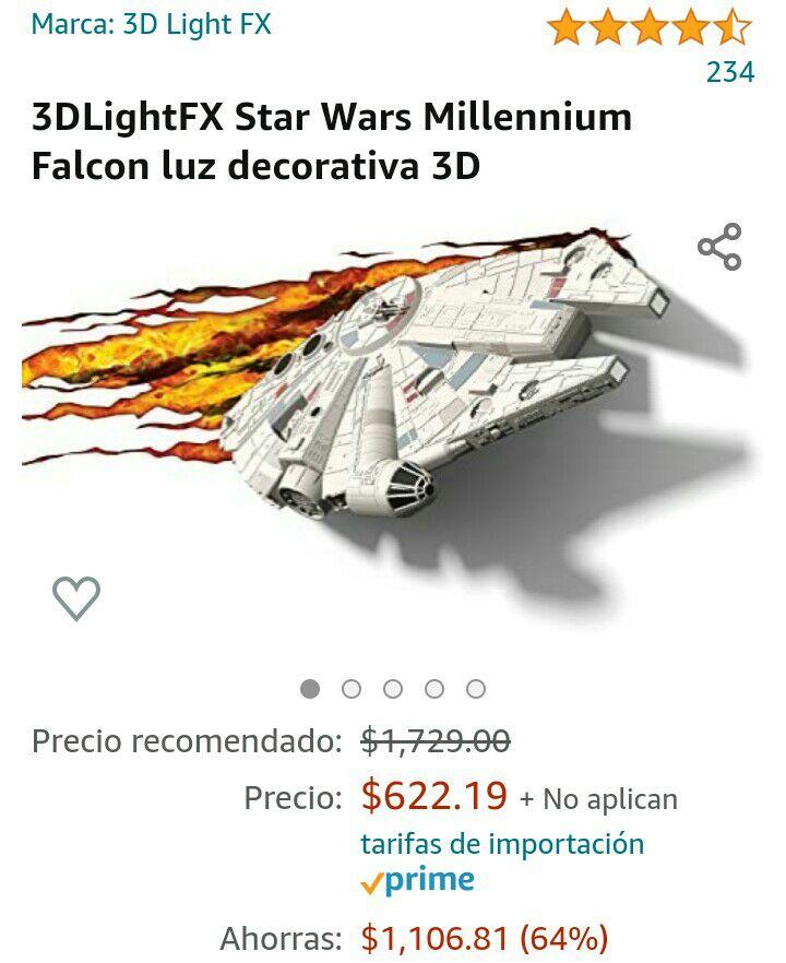 Amazon: Millenium Falcon star wars lampara 3d