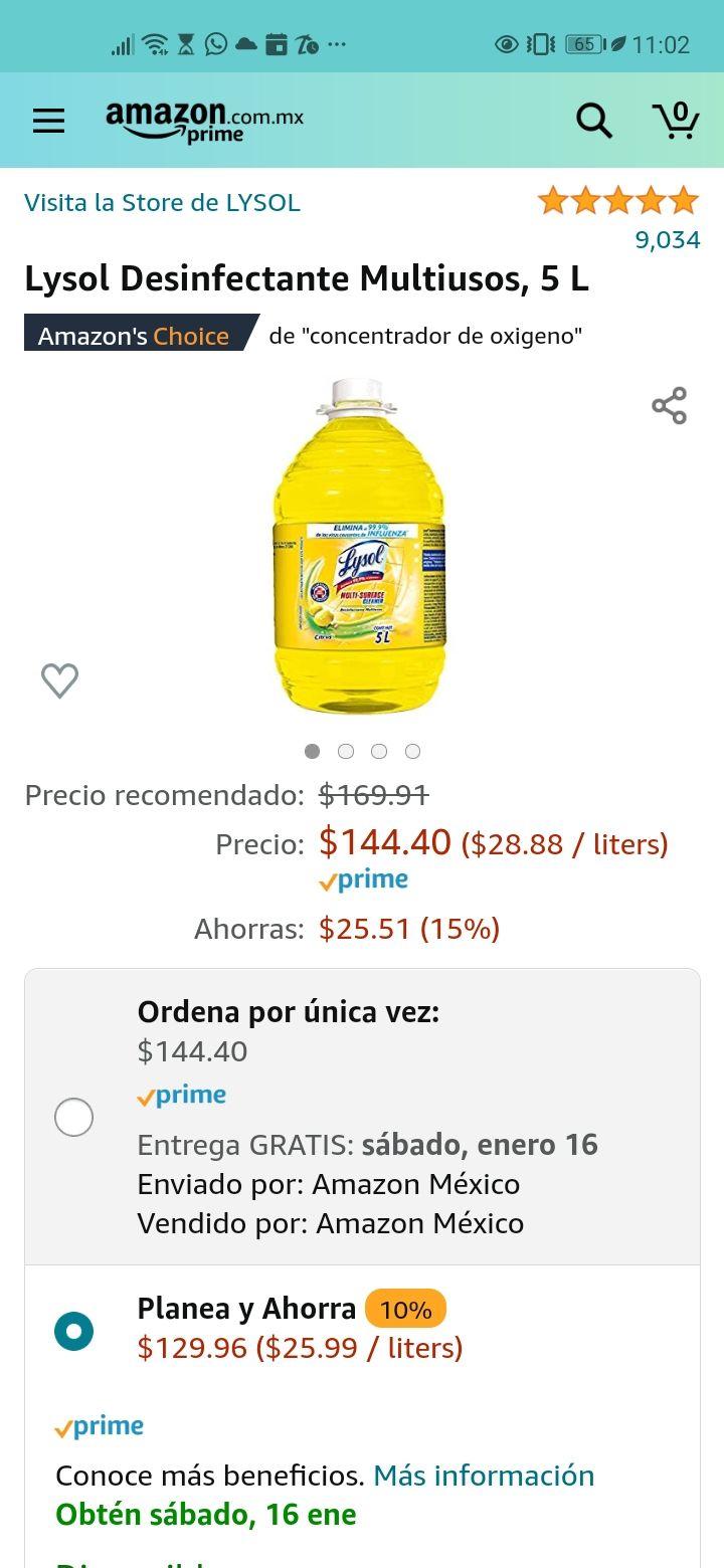 Amazon: Desinfectante Lysol 5 litros