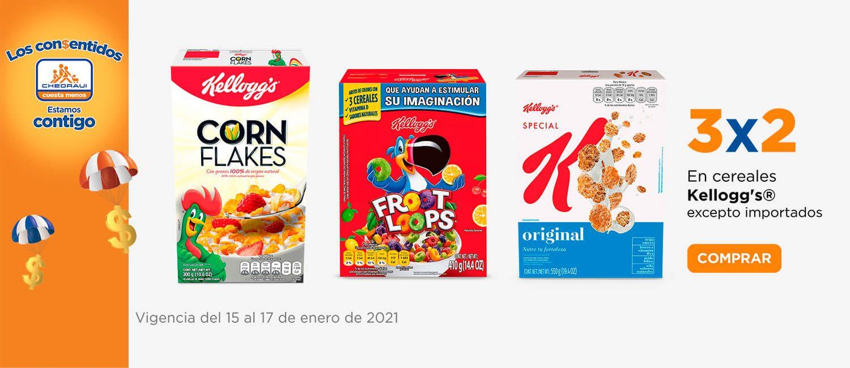 Chedraui: 3 x 2 en cereales Kellogg's (Excepto importados)