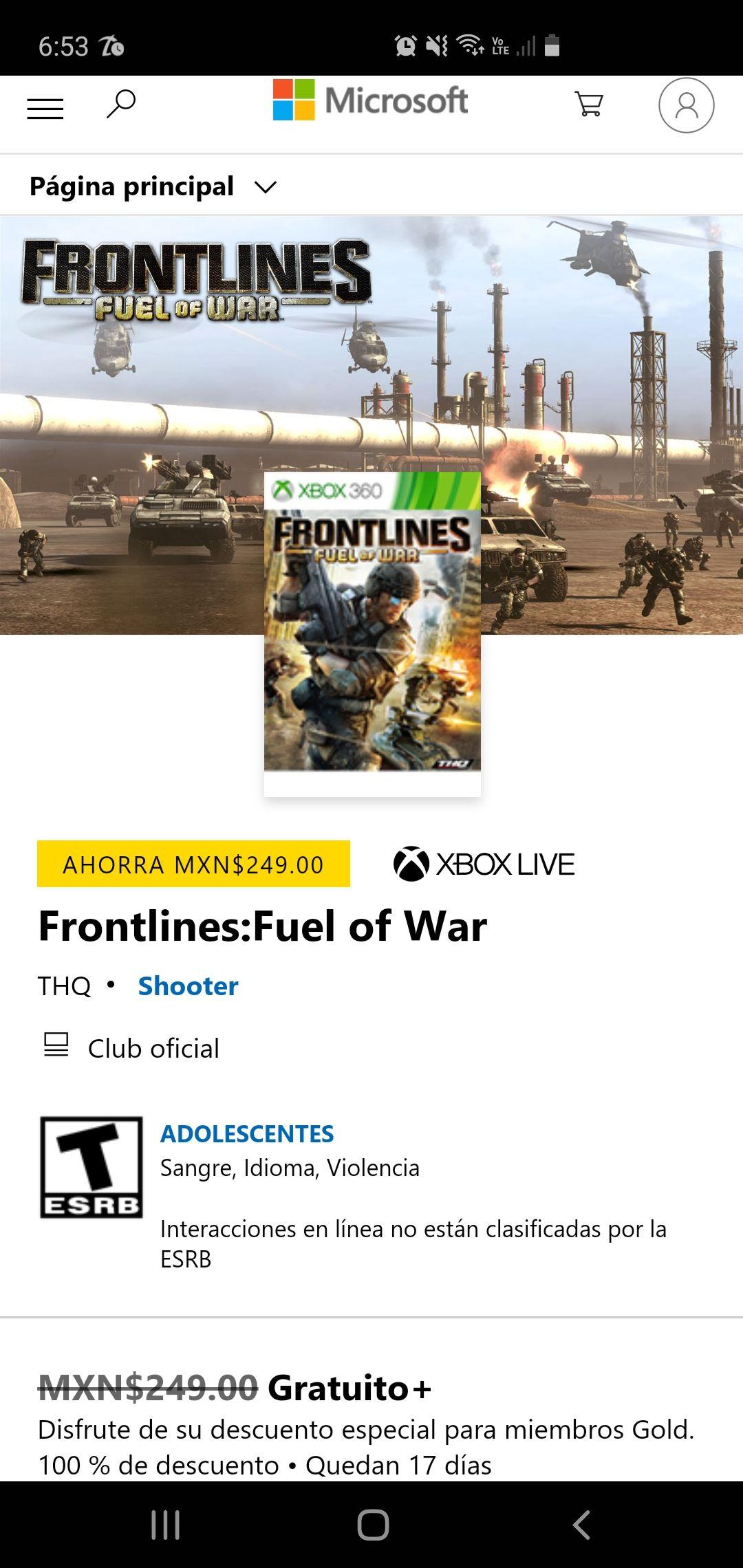 Microsoft Store, Frontlines: Fuel of war(xbox one/xbox 360)GRATIS.