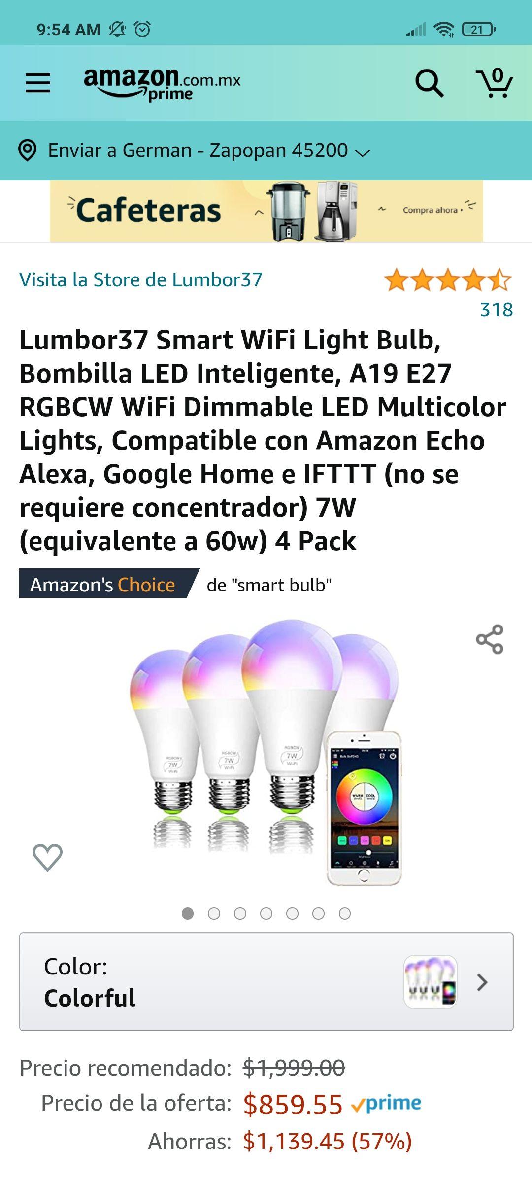Amazon, Focos LED RGB Smart wifi, Alexa y Google Home