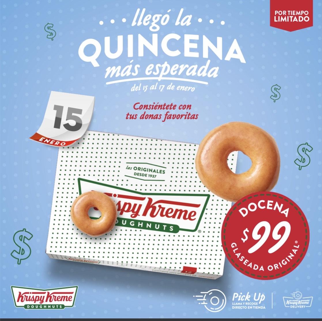 Krispy Kreme: Docena Glaceada a 99$ (del 15 al 17 de enero.)