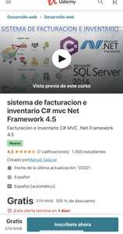 Udemy: sistema de facturacion e inventario C# mvc Net Framework 4.5