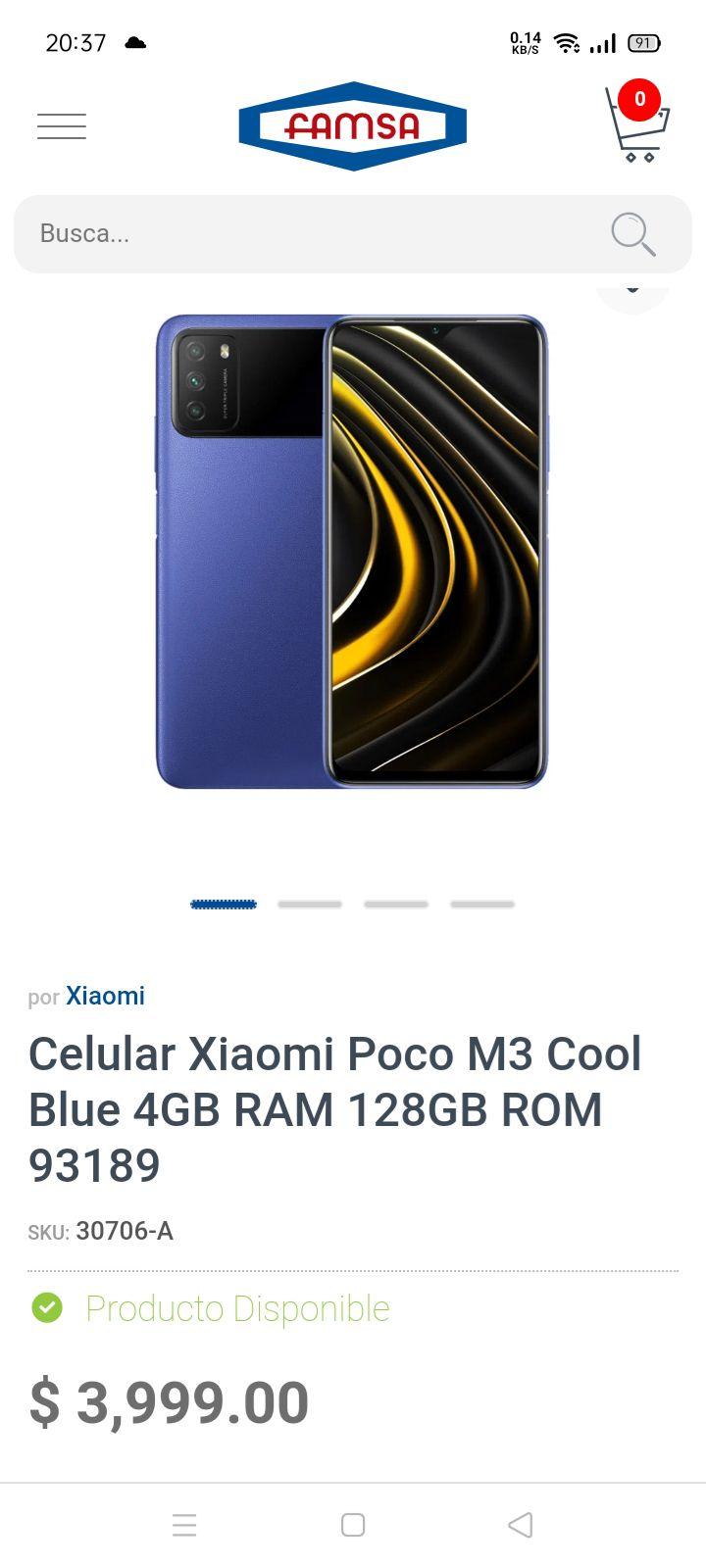 Famsa: Poco M3, Versión Global 4/128, Desbloqueado - Color Azul
