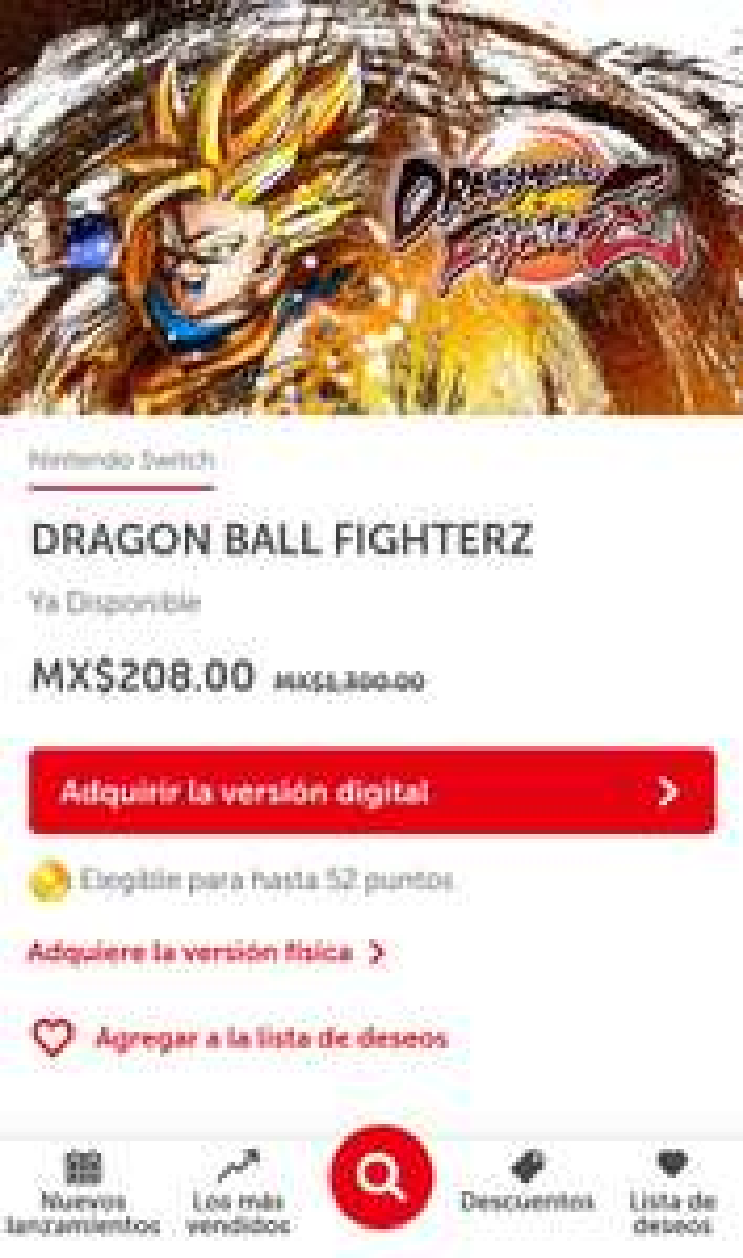 Nintendo eshop: Dragón Ball Fighterz para nintendo Switch