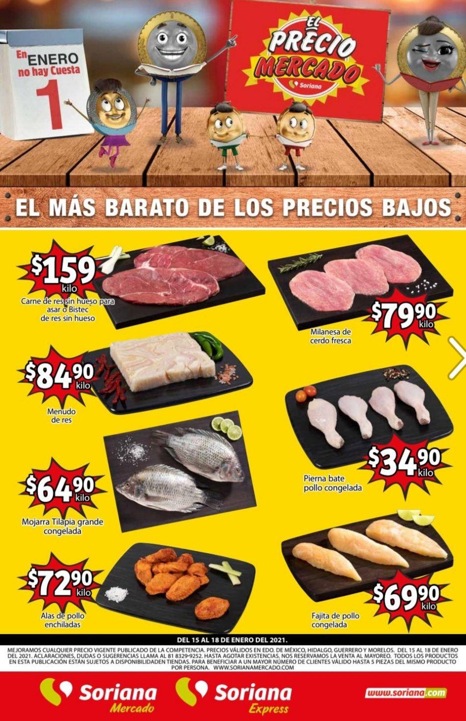 Soriana Mercado y Express: Volante de Ofertas Fin de Semana del Viernes 15 al Lunes 18 de Enero
