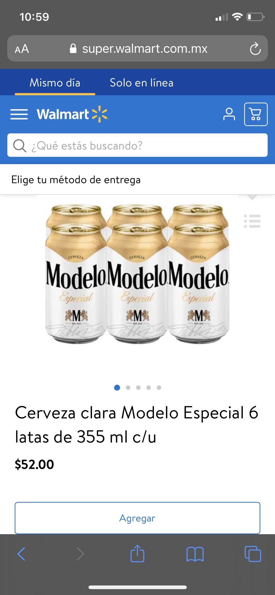 Walmart: Cerveza clara Modelo Especial 6 latas de 355 ml c/u