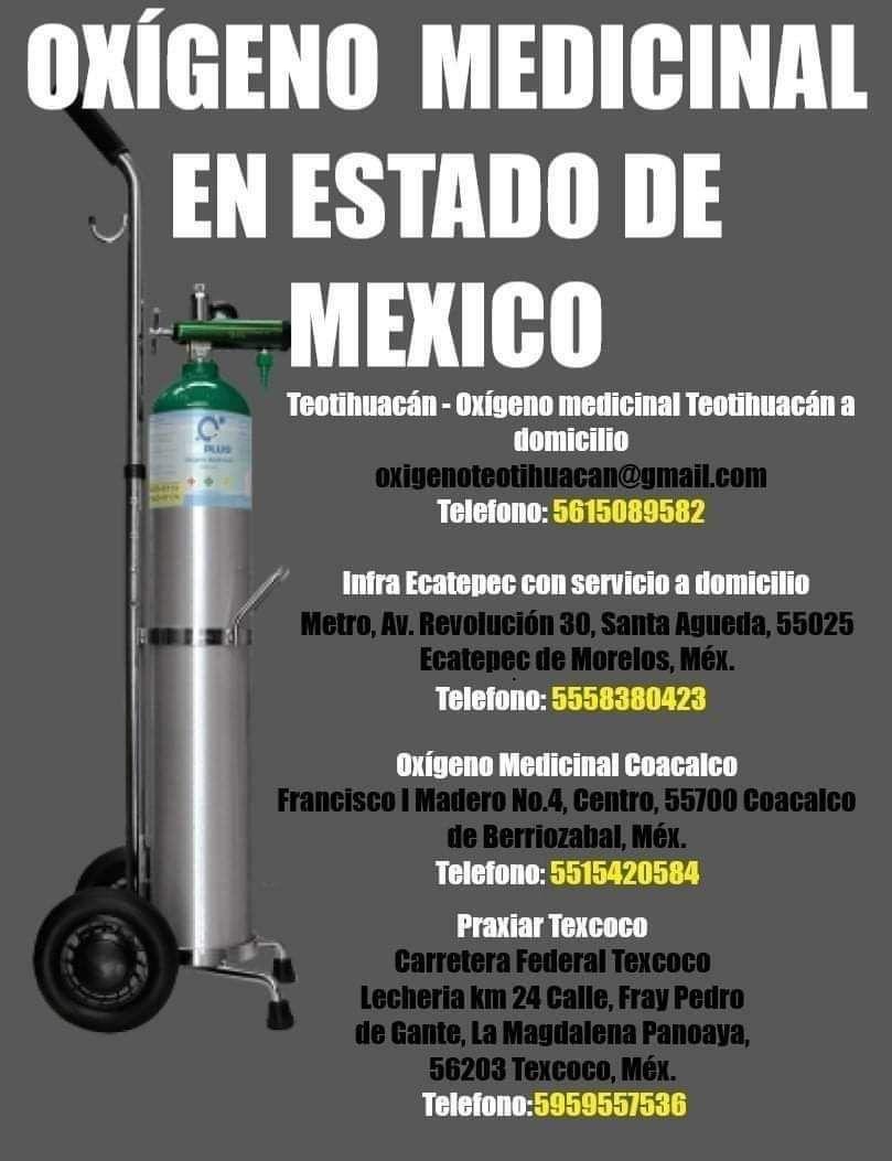 Oxigeno medicinal en Teotihuacán, Ecatepec, Coacalco y Texcoco.