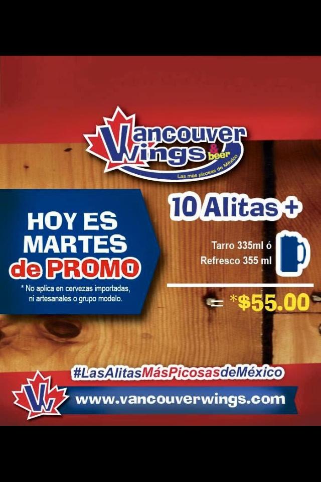 Vancouver Wings: todos los martes 10 ALAS + CERVEZA por $55