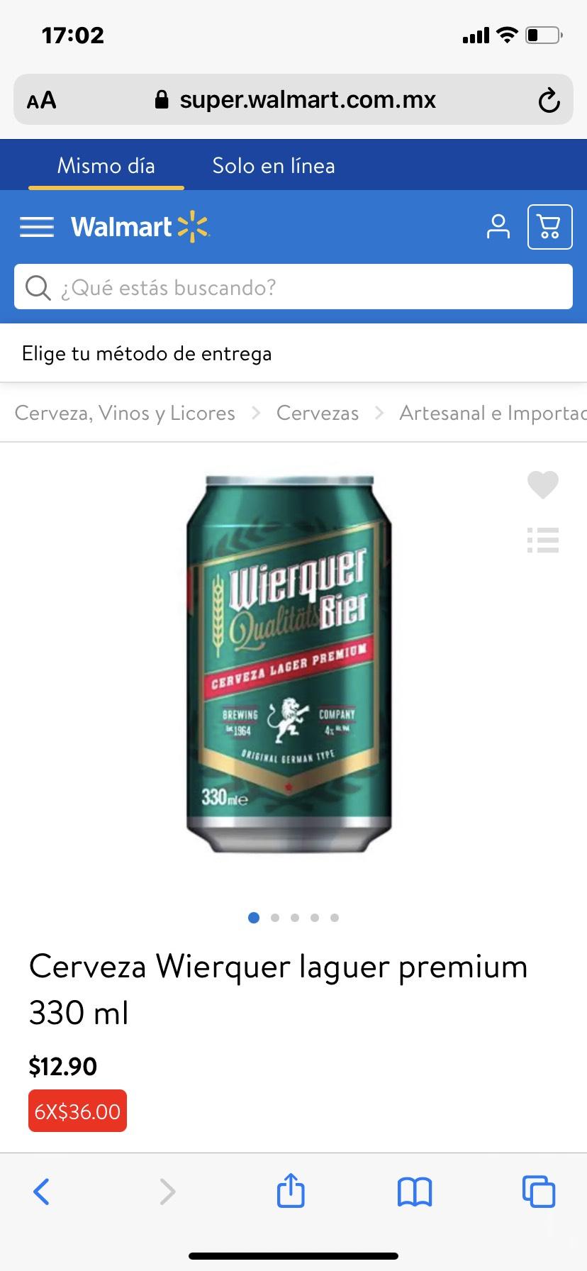 Walmart: Cerveza Wierquer laguer premium 330 ml