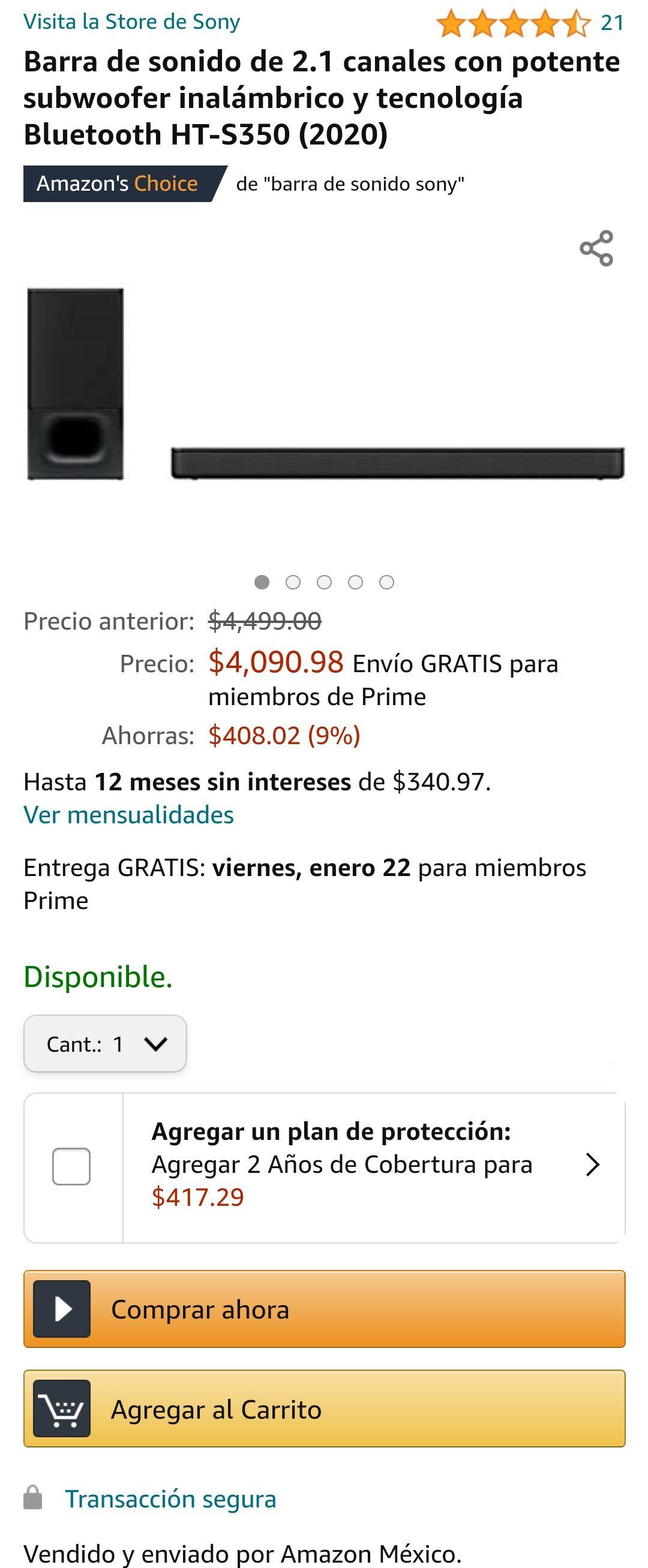 Amazon: Sony HT-S350 2.1 Subwoofer Inalámbrico 320 watts