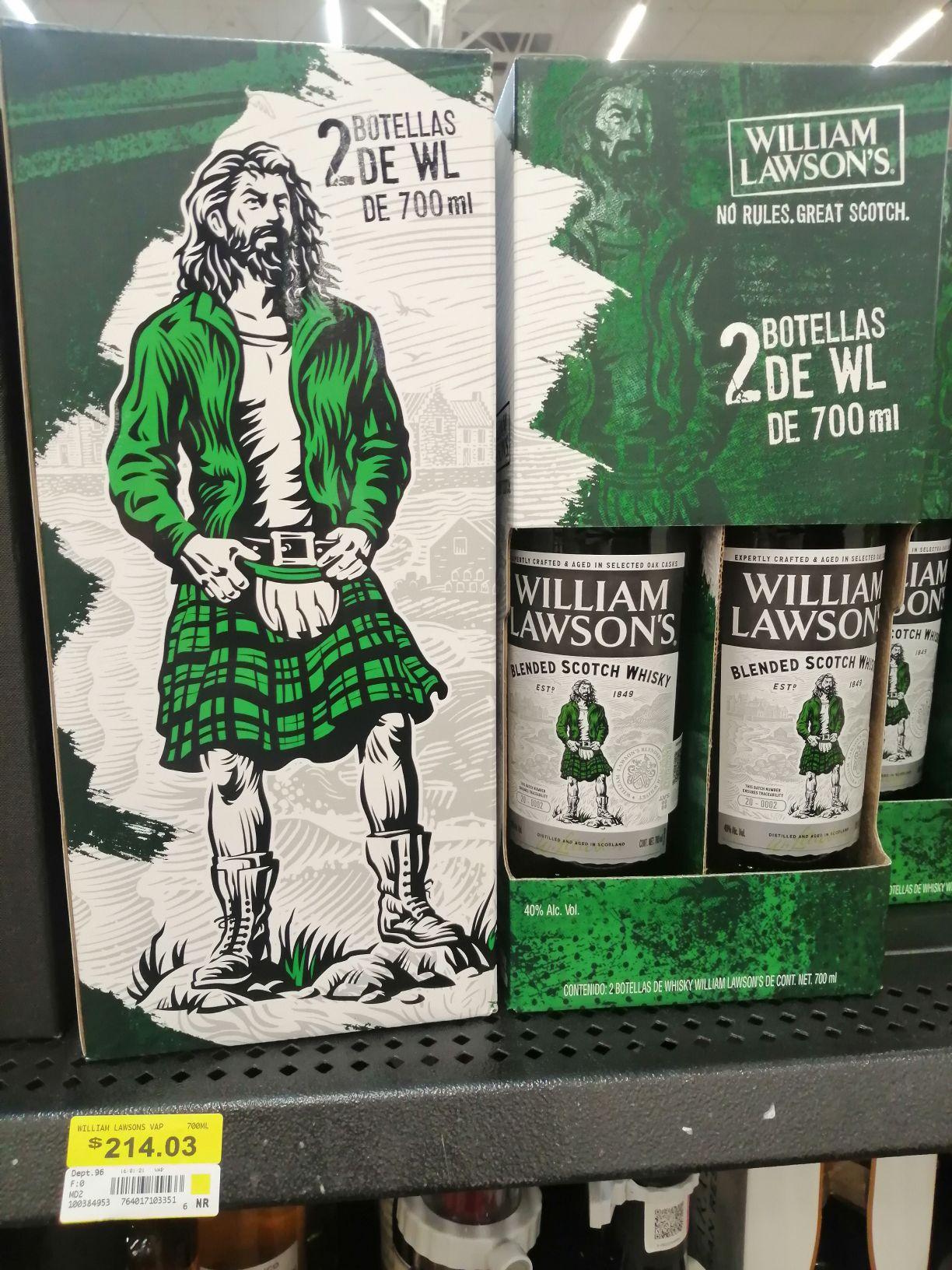 Walmart: William Lawsons: 2 botellas de 700mL c/u.