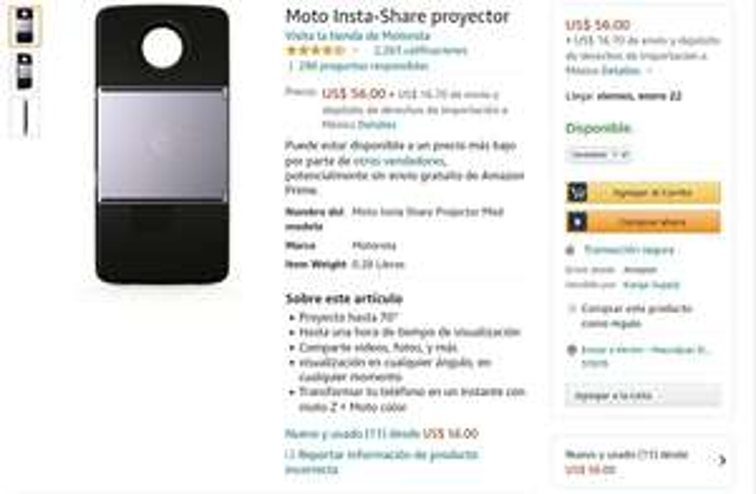 Amazon USA: Moto mod proyector para moto Z
