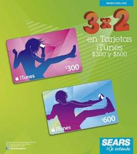 Sears: 3x2 en tarjetas iTunes