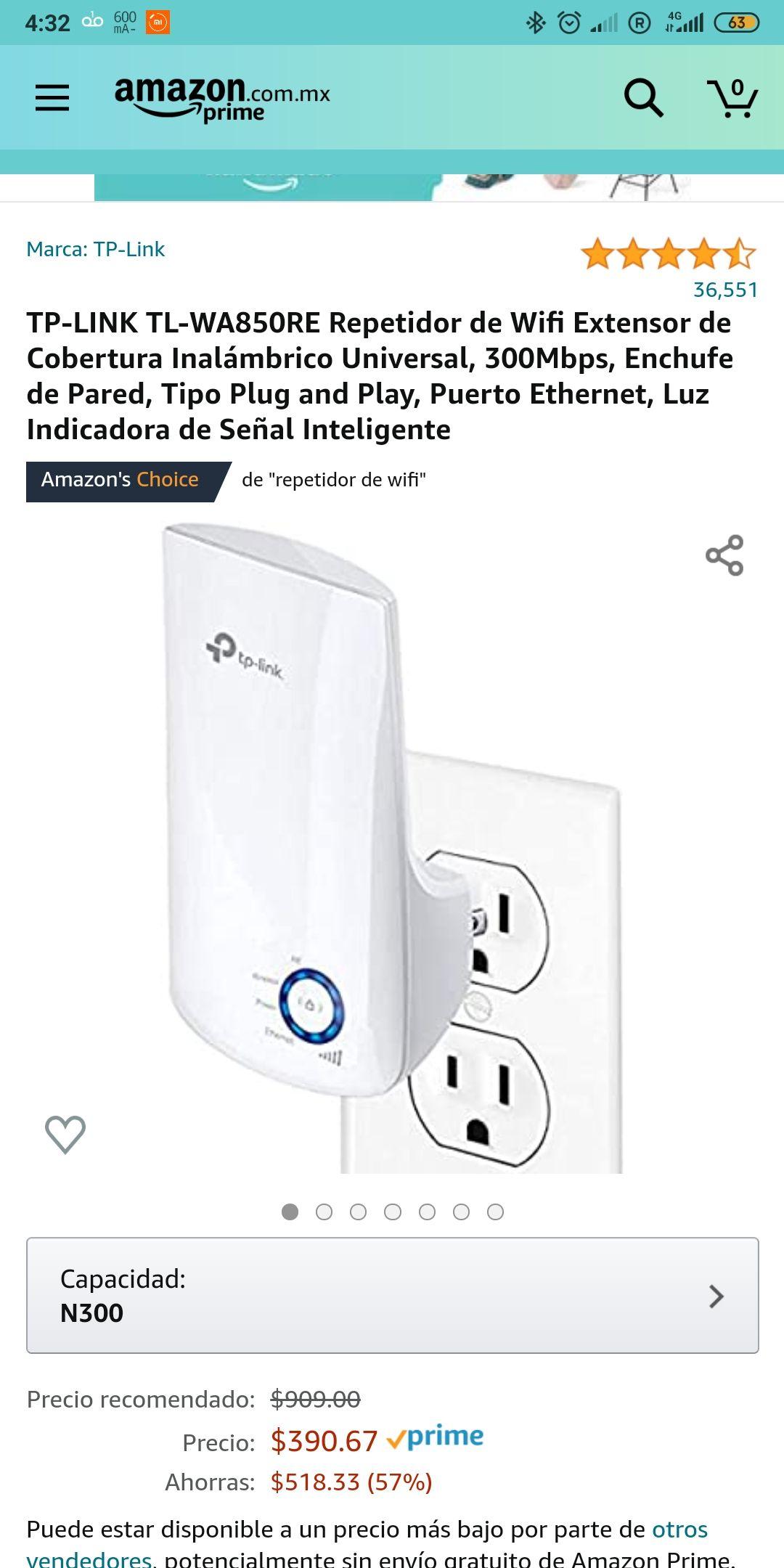 Amazon: TP-LINK TL-WA850RE Repetidor de Wifi