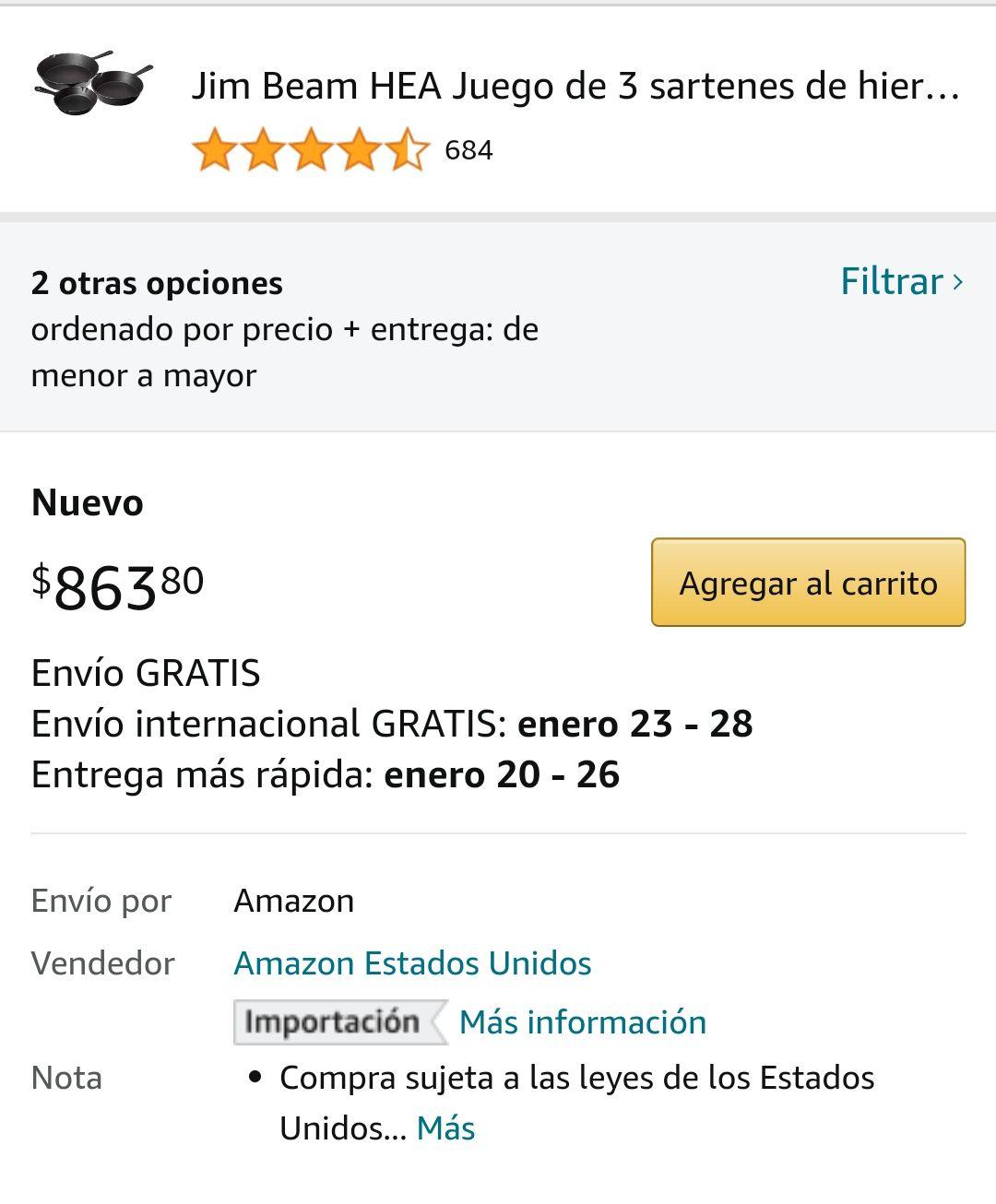Amazon: Juego de 3 sartenes de hierro fundido Jim Beam