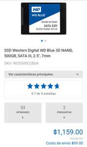 CyberPuerta: Ssd western digital sata III 500 gb. 2.5 mm