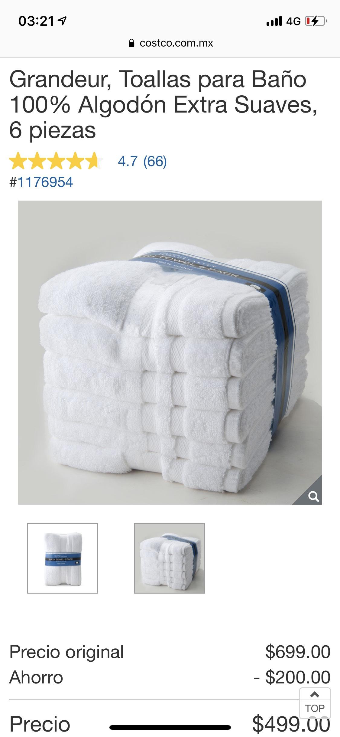 Costco: 6 toallas grandes 100% algodón xtr suaves