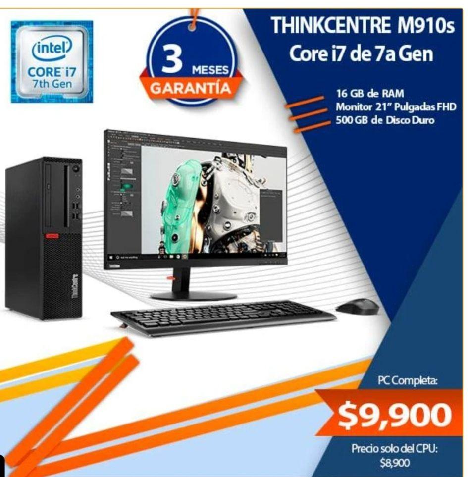 TecnoByte: PC Lenovo Thinkcentre M910s (i7 7ma gen) 16 ram 500gb dd, se puede pagar con Paypal por seguridad
