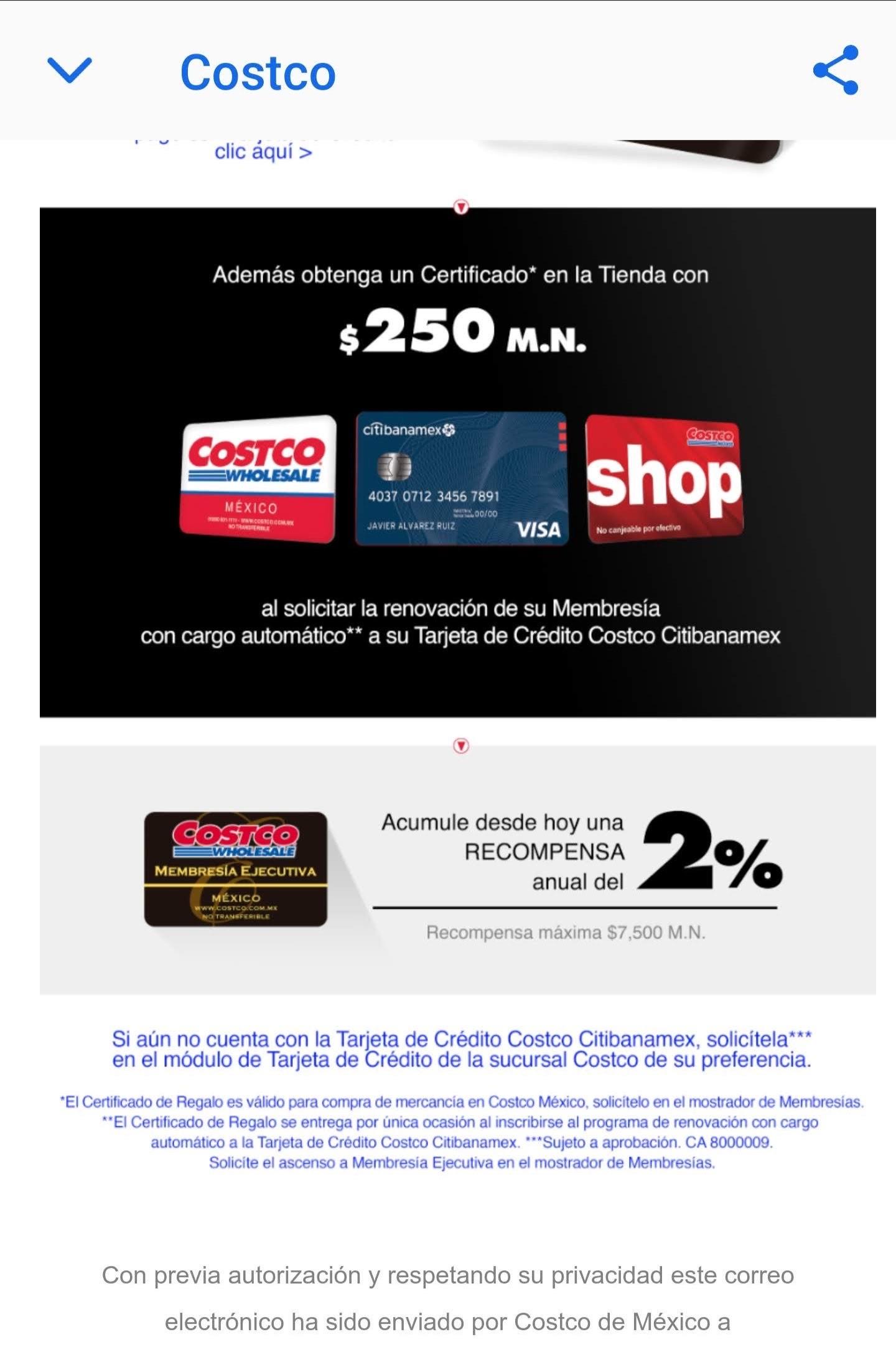 Costco - Certificado de $250, al renovar con Costco CitiBanamex y otras..