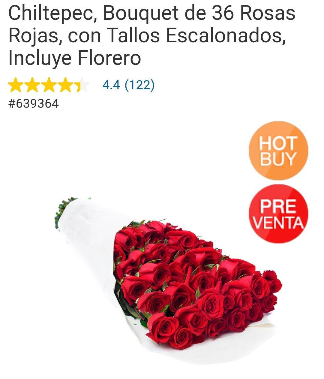 Costco: Bouquet de 36 Rosas Rojas, con Tallos Escalonados, Incluye Florero