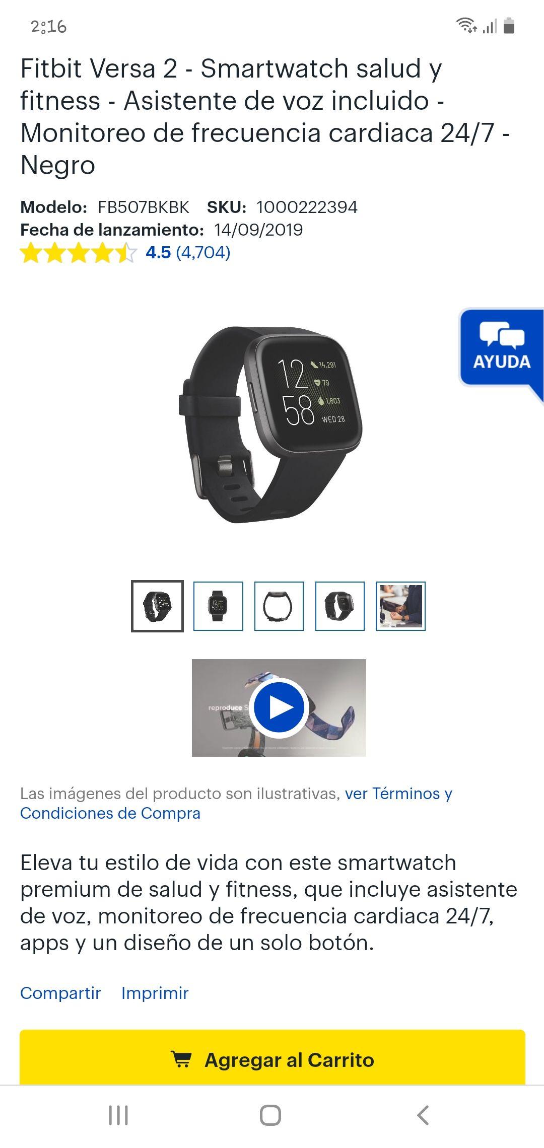 Best Buy: Fitbit Versa 2 - Nuevamente disponible amigos.... varios colores edición limitada sube el precio