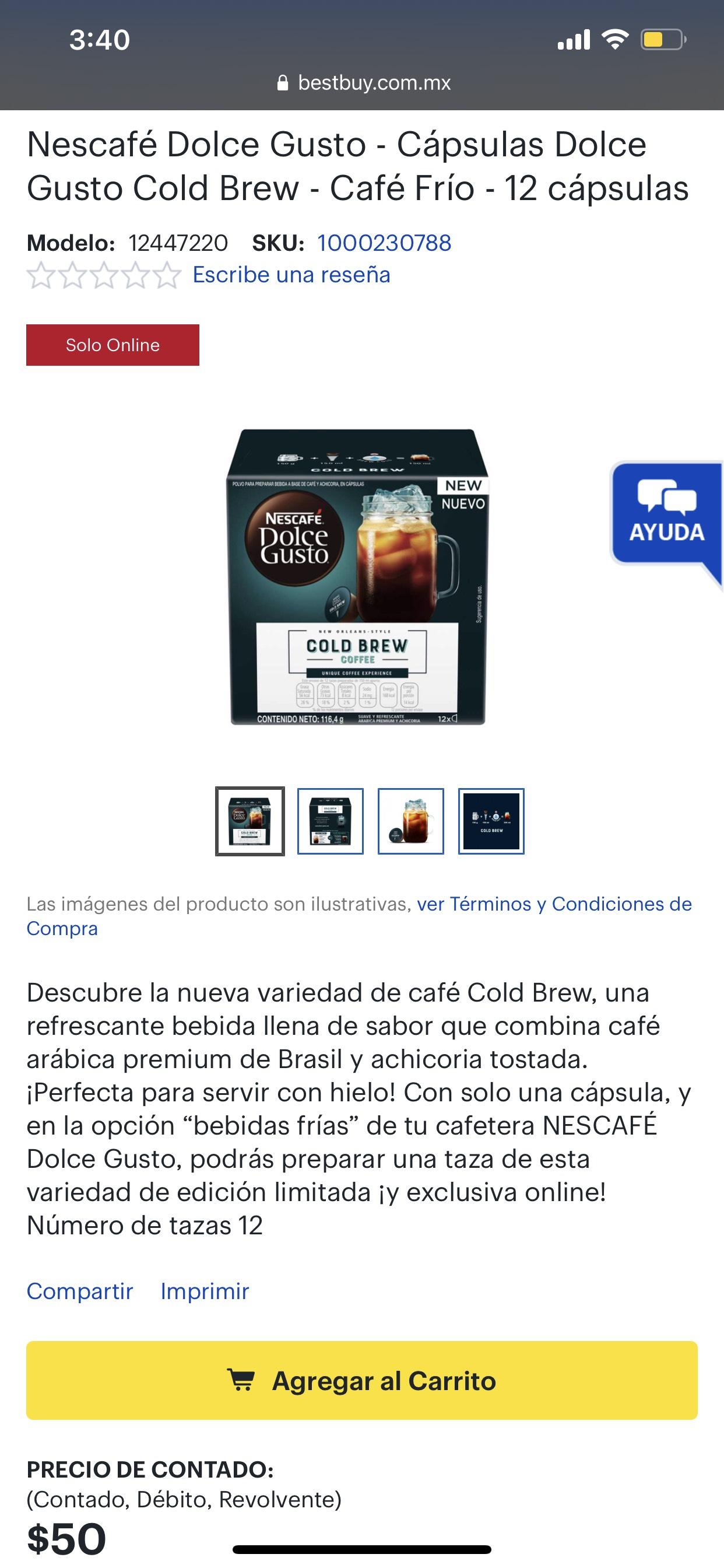 Best Buy: Nescafé Dolce Gusto Cold Brew 12 cápsulas