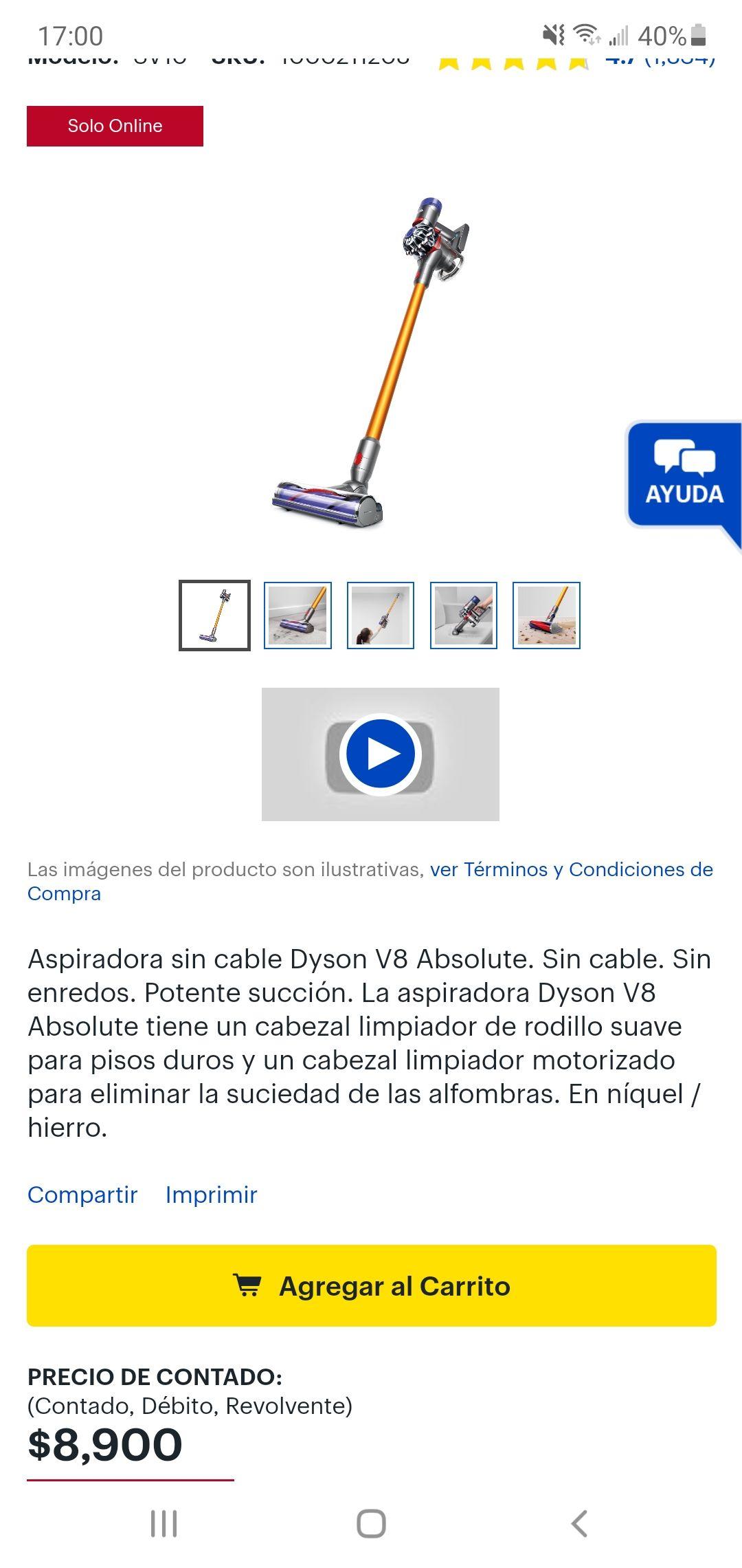 Best Buy: Aspiradora sin cables Dyson V8 Absolute