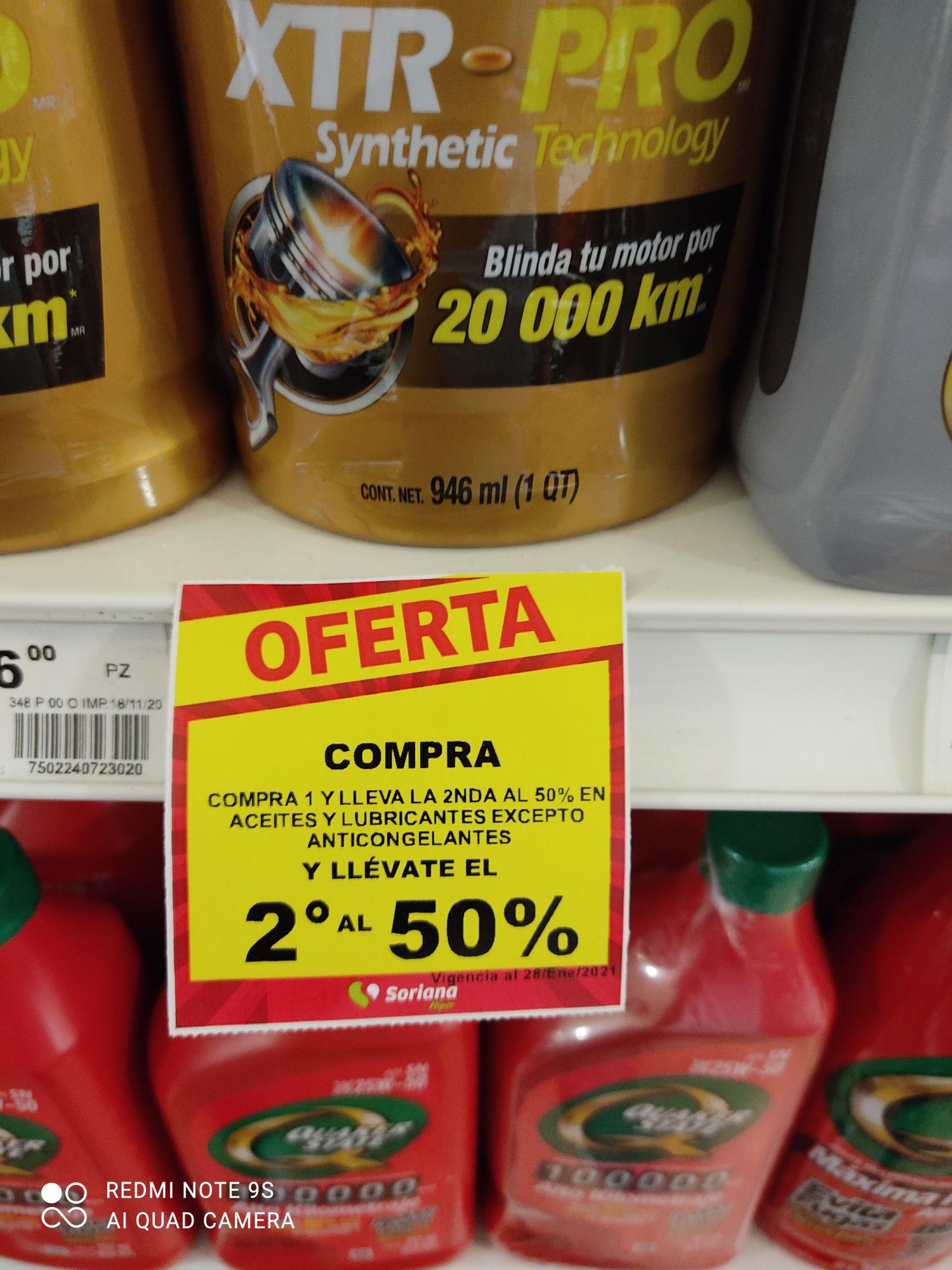 Soriana: Aceites y lubricantes El segundo a mitad de precio