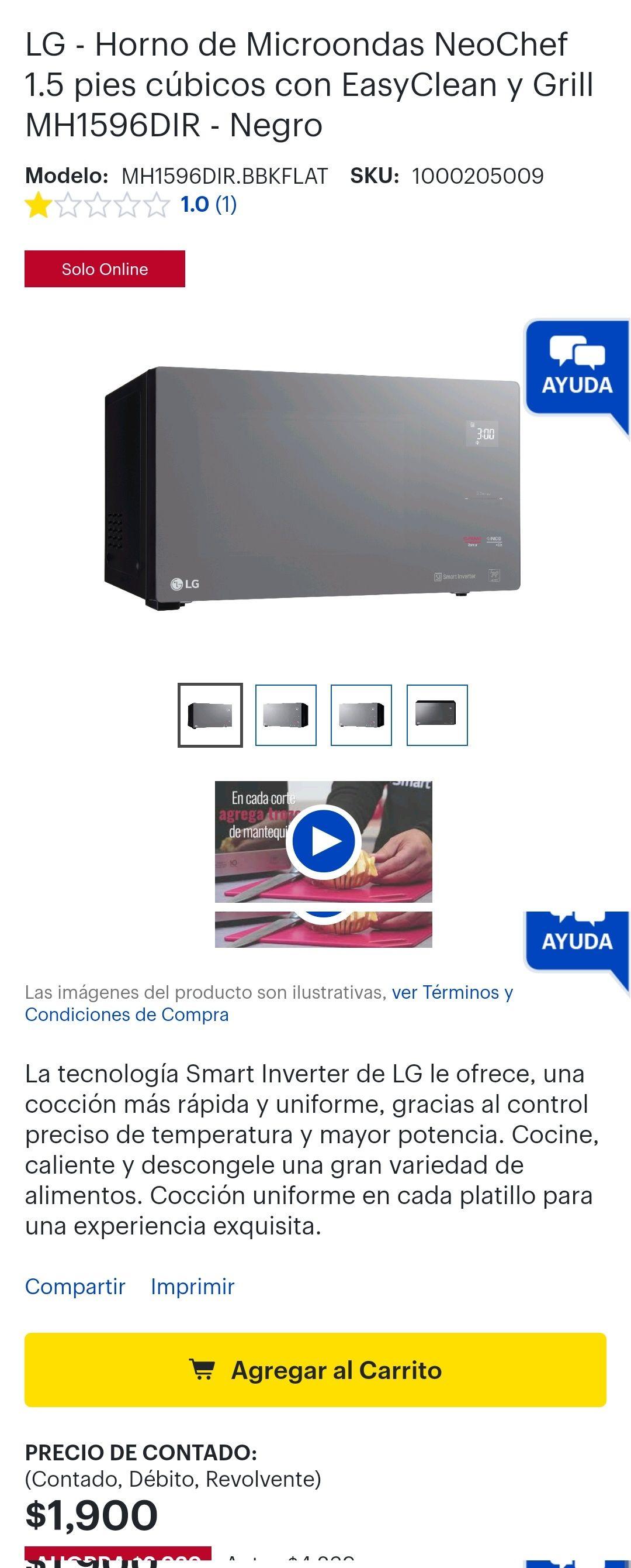 Best buy - LG - Horno de Microondas NeoChef 1.5 pies cúbicos con EasyClean y Grill