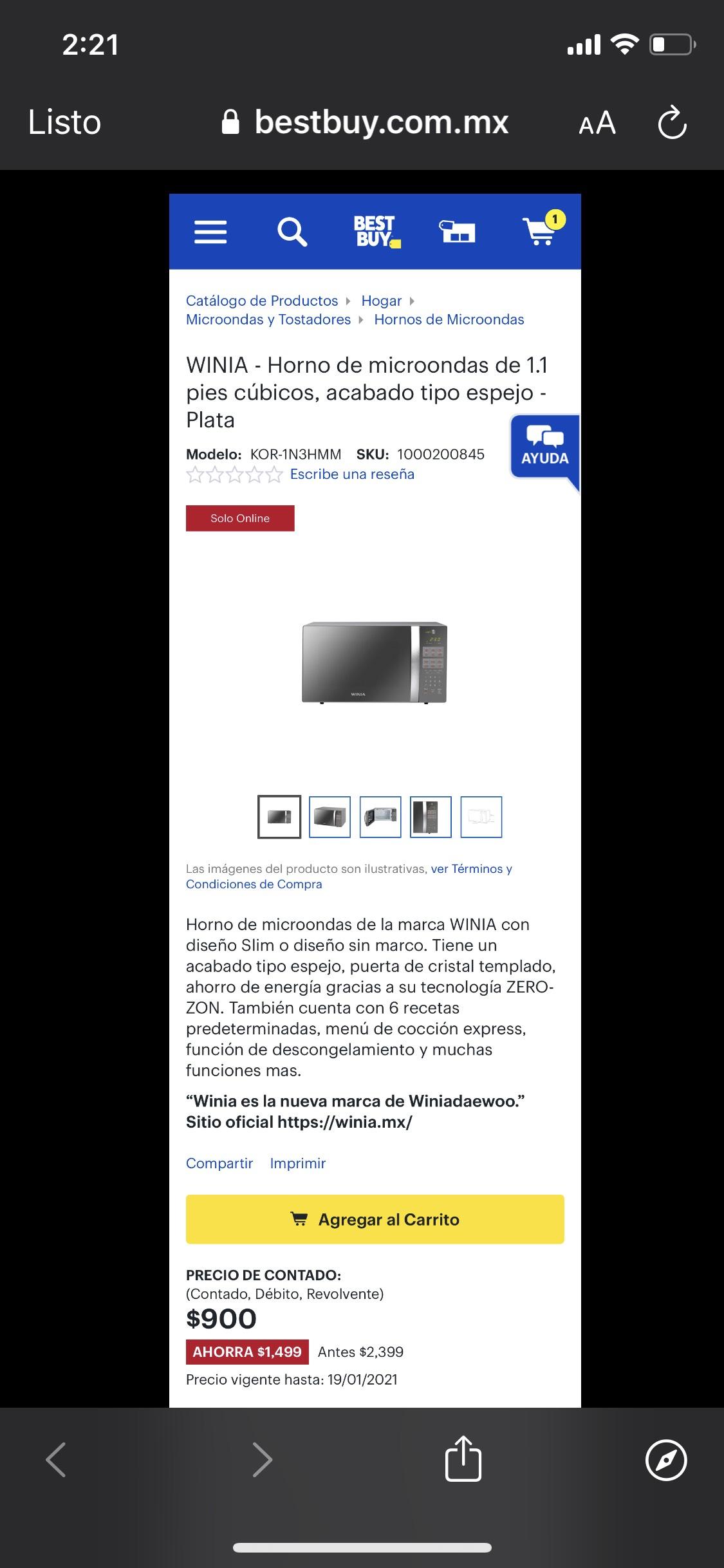 Best Buy: WINIA - Horno de microondas de 1.1 pies cúbicos, acabado tipo espejo - Plata