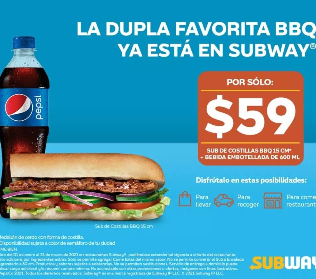 Subway: Sub de Costillas BBQ de 15 cm y Refresco de 600 mL.